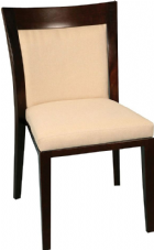 Costa Wooden Side Chair in Dark Walnut with Upholstered Cream Seat & Back